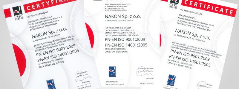 Certyfikat zarządzania jakością iso 9001 oraz środowiskiem iso 14001
